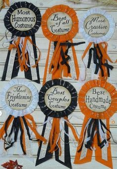 Award Ribbons for Halloween Costume Parties! I should make these for this years party.