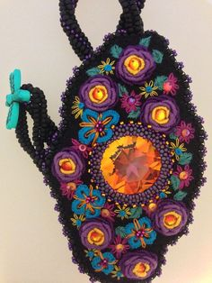 Embroidered Beaded Necklace  Vivid Life by VChoyArtJewelry on Etsy, $185.00