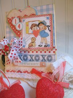kitschy valentine card-valentine KIDS and PUPPY DOG card-xoxo valentine greetings handmade stitched card