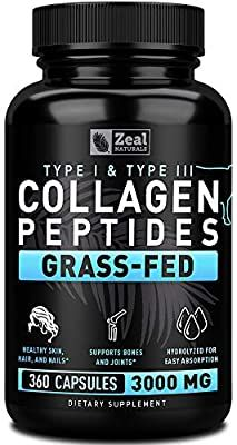 Amazon Com Pure Collagen Peptides Collagen Pills 360 Capsules 100 Grass Fed Collagen Pro In 2020 Hydrolyzed Collagen Powder Collagen Protein Powder Collagen Powder
