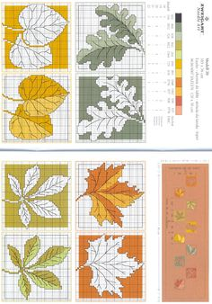 cross stitch leafs