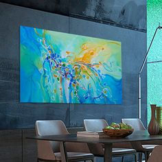 Abstract painting Turquoise Yellow Blue Orange moderne by Artoosh