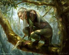 Elf Spearman by Shilesque More ranger High Fantasy, Fantasy Male, Fantasy Warrior, Fantasy Rpg, Medieval Fantasy, Fantasy Artwork, Fantasy World, Dungeons And Dragons, Character Art