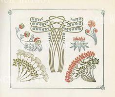 Elementi di disegno di Art Deco di foglie e fiori antico libro piatto, rosa e blu, ad alta risoluzione Download istantaneo, CU OK