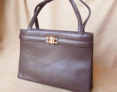 Vintage 60's Brown Handbag, Structured, Top Handle, Mini Bag, 50's Rockabilly, Mad Men.