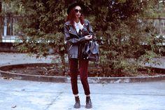 Banggood Leather Jacket, Thrift Store Shirt, Thrift Store Backpack, Thrift Store Pants, Dr. Martens Boots