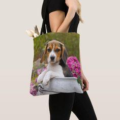 Cute Beagle Dog Puppy in Milk Churn Photo  Shopper Tote Bag  chocolate beagle, bell training puppy, puppy treat #beagleworld #dogsoffinland #jackrussell, back to school, aesthetic wallpaper, y2k fashion Beagle Dog Puppy, Art Beagle, Beagle Funny, Baby Puppies, Cute Puppies, Dogs And Puppies, Beagle Gifts, Milk Churn, Pocket Beagle