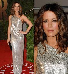 Inspire-se com vestidos de Kate Beckinsale. A atriz adora brilho, modelo sereia e recortes estratégicos, além de cortes que valorizam a silhueta.