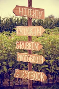 Simple directional sign to point guests to all the fun stuff you've planned for the day DIY. Fun signs. Handmade.