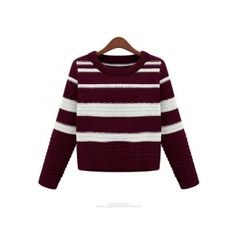 Red New Womens Crewneck Long Sleeve Cable Striped Knitwear Tops Sweaters