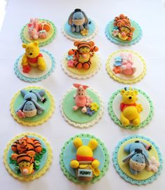 Handmade 3D Winnie The Pooh Inspired - Fondant Cake/Cupcake Toppers Perfect for Kids Party Quantity: 4 Pcs (sitting position) Size: Base Circle - 2-1/2 Figurine: 1-1/2 - 2 Event Date: May 3rd 2014