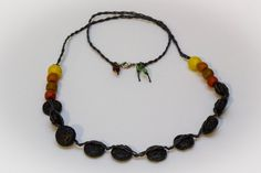 Handmade long Necklace with lava stones and ceramic beads