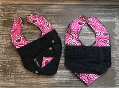 These bibs feature pink 100% pre-washed cotton fabric with black denim. Backing is also black denim. Durable yet stylish for those little ones who need to protect their clothes from drooling or during meal time.