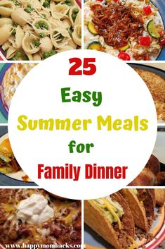 25 Easy Summer Meals for Kids. Family dinner ideas that are quick and perfect for those busy summer nights. Crockpot meals, rotisserie chicken, pasta meals and more. dinnerideas, dinner meals 25 Easy Family Dinner Ideas for Quick Weeknight Meals Quick Summer Meals, Quick Family Dinners, Quick Weeknight Meals, Quick Easy Meals, Easy Dinner Recipes, Crockpot Summer Meals, Light Summer Meals, Crockpot Meals Easy Families, Light Meals For Dinner