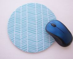 Round Computer Mouse Pad / Mat - Herringbone aqua blue | Computers/Tablets & Networking, Laptop & Desktop Accessories, Mouse Pads & Wrist Rests | eBay!