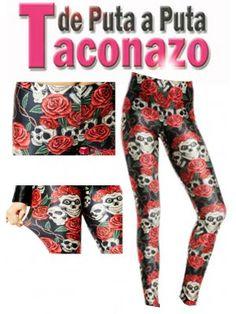 Leggings de polyester estampados con calaveras y rosas bd7caf46e224