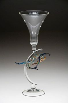 Clear Wine Goblet with Whimsical Figure Stem Detail by Tim Drier