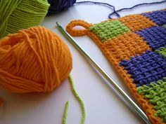 Talk about sturdy. , Using my J afghan hook, I finished my 'hip to be square' potholder. The sturdiness of this Sugar 'n Cre. Crochet Potholders, Crochet Quilt, Crochet Yarn, Enterlac Crochet, Afghan Stitch, Tunisian Crochet Patterns, Knitted Blankets, Crochet Projects, Knitting