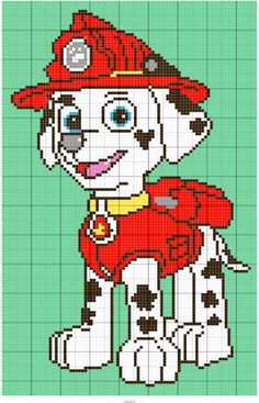 Paw patrol Designed by Regina Souverein Stitch Fiddle Frozen Cross Stitch, Cross Stitch Baby, Cross Stitch Charts, Baby Boy Knitting Patterns, Knitting Charts, Baby Knitting, Paw Patrol Marshall, Cross Stitch Pattern Maker, Cross Stitch Patterns