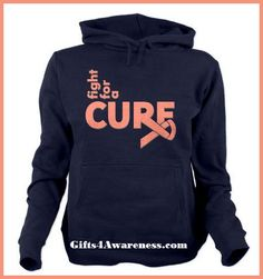 Sport your activism for Uterine Cancer with Fight For A Cure shirts and gifts featuring a cool style text design with a ribbon on the side by www.Gifts4Awareness.Com.  #cancerawareness