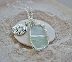 Blue Seaglass Necklace with Sanddollar Charm by ShatteredSmooth, $15.00...I love this!!!