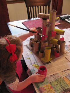 Toilet paper rolls, paper towel tubes. Create sculpture and paint.
