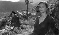 """Lucia Bosè e Raf Vallone in """"Non c'è pace tra gli ulivi"""" (1950)."""