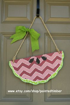 Watermelon door hanger chevron by PaintedTimber on Etsy, $35.00
