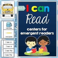 I can Read Emergent Center Activities, Readers, Mini Books, Strategy Posters, Cards and Printables - School Themed BUNDLE for Pre-K and Kindergarten studentsThis pack is full of school themed activities for children who are using basic sentence structures when learning to read.