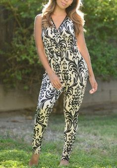 Black Floral Sewing Mid-rise Fashion Slim Long Jumpsuit-12137482064-00