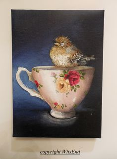 "'LITTLE HOUSE FINCH'S SLEEPY TIME TEA' (15th in series ""Little Bird's Tea"")Bird Teacup painting original still life House Finch by 4WitsEnd, via Etsy"