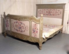 French Upholstered Double Bed, Shabby And Chic - Antiques Atlas