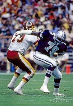 Dallas Cowboys defensive end Harvey Martin (79) gets past Washington Redskins tackle Mark May