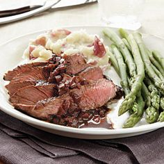 Sirloin Steak with Merlot-Balsamic Reduction - Gluten-Free Dinners - Cooking Light Mobile Steak Recipes, Cooking Recipes, Roast Recipes, Balsamic Reduction Recipe, Gluten Free Recipes, Healthy Recipes, Healthy Meals, Healthy Food, Sirloin Steaks