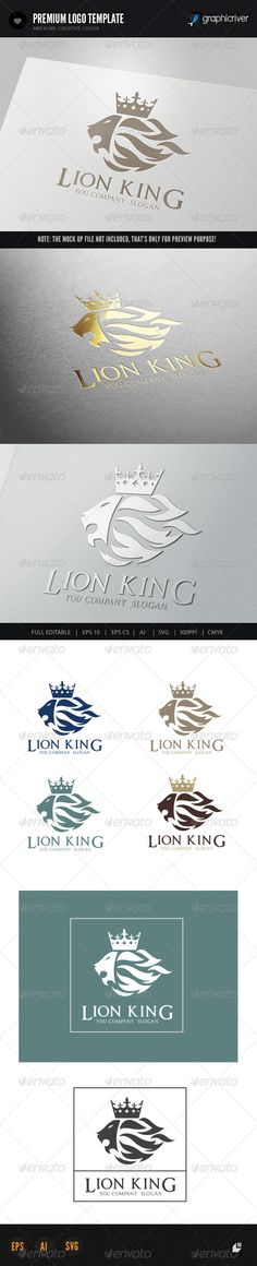 Lion King Logo 1 — Vector EPS #shilled #crown • Available here → https://graphicriver.net/item/lion-king-logo-1/6396445?ref=pxcr