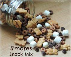 S'mores Snack Mix-Preschool snack. I used marshmallows, yogurt raisins, choc chips, coco puffs, and golden grahams. Good stuff!