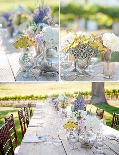 silver tea set and lavender