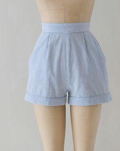 1950s high waist shorts / 50s shorts / seersucker shorts medium on Etsy, $58.00