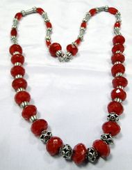 Red color stones and silver beads strand necklace -10066