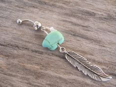 Feather Belly Ring, Zuni Bear Belly Button Ring, Tuquoise Magnesite Belly Piercing, Birthstone Personalized, Native American Jewelry, on Etsy, $18.00