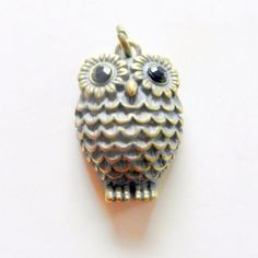 Antique Metal Owl Charm by CloudNineSupplyShop on Etsy, $4.25