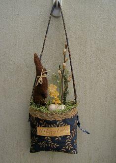 Primitive Easter Wall Hanger  Door Greeter Bunny Rabbit Eggs Pussy Willows