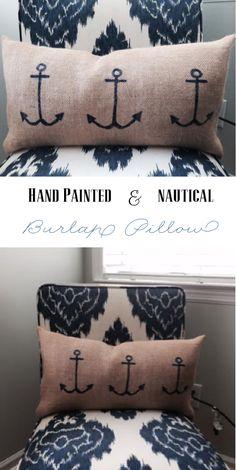 Hand painted nautical burlap pillow!