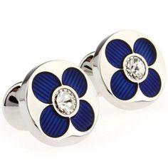 Round Blue & White Crystal Cufflinks Cuff Links