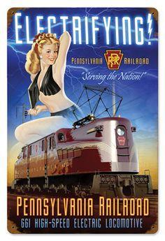 vintage train poster