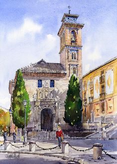 La Iglesia De Santa Ana Granada Painting by Margaret Merry