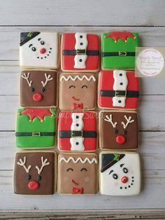 Items similar to Christmas Sugar Cookies Square Collection cookies) on Etsy Christmas Sugar Cookies, Christmas Sweets, Christmas Cooking, Noel Christmas, Christmas Goodies, Holiday Cookies, Christmas Cookie Boxes, Decorated Christmas Cookies, Summer Cookies
