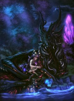 Okay, this damned thing is done. Took a month to do, mostly due to depression. And yes, Alexstrasza has to earn this. Alexstrasza and Neltharion Fantasy, Fantasy Artwork, Fantasy Art, Warcraft Art, Fantasy Creatures, Art, Dragon Art, World Of Warcraft Wallpaper, Aesthetic Art