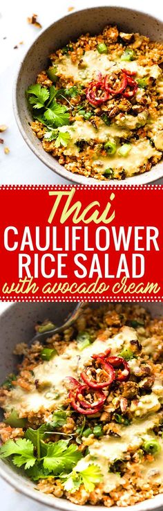 Colorful Thai Cauliflower Rice Salad is packed full of flavor, spice, and made easy! Thai spiced mixed into a Carrot Cauliflower Rice Salad with Avocado Cream Dressing! It's both Paleo, Vegan, and made in under 30 minutes. Perfect as is or with a protein of choice. Simple, wholesome, healthy! Whole 30 friendly. www.cottercrunch.com @cottercrunch