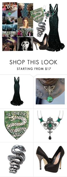 """""""If I'd be Slytherin: Yule Ball"""" by abbymc ❤ liked on Polyvore featuring Elie Saab, Masquerade, Femme Metale Jewelry and Steve Madden"""